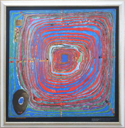 "Hundertwasser ""The big way"" Massivholzrahmung weiß / silber\\n\\n05.02.2018 17:49"